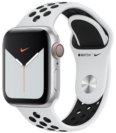 APPLE Remienok 44mm Pure Platinum/Black Nike Sport Band